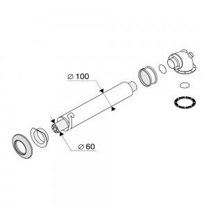 Дымоход коаксиальный Protherm 60/100 1000 мм (Пантера, Гепард, Тигр)