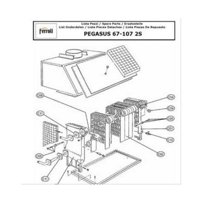 3980B760 Секция теплообменника правая для котлов Ferroli Pegasus F3 N 2S (аналог 39441880)