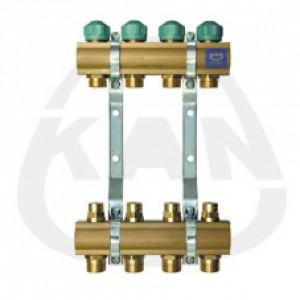 Коллекторная группа KAN с профилем 1 для напольного отопления с регулирующими вентилями - нижняя часть распределителя и с вентилями для сервоприводов - верхняя коллекторная трубка (серия 71 А) 2