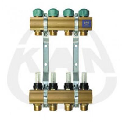 Коллекторная группа KAN с профилем 1 для напольного отопления с вентилями для сервоприводов и расходомерами (серия 75 А) 4