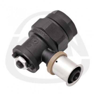 Отвод KAN PPSU фиксируемый Рress с пресс-кольцом,с короткой полимерной заглушкой с фиксаторами (и гайкой М8) 16x2/G1/2