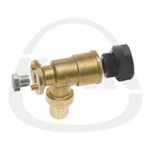 Отвод KAN латунный фиксируемый  Push (водорозетка) с короткой полимерной заглушкой 18x2 G1/2 (D)