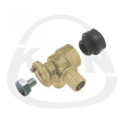 Отвод KAN латунный фиксируемый угловой Push (водорозетка) с короткой полимерной заглушкой 18x2,5/18x2,5 G1/2