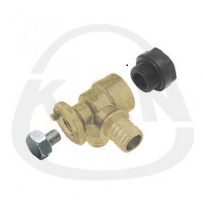 Отвод KAN латунный фиксируемый угловой Push (водорозетка) с короткой полимерной заглушкой 18x2/18x2 G1/2