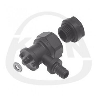 Отвод KAN фиксируемый из PPSU Push (водорозетка) с короткой полимерной заглушкой 18x2,5 G1/2