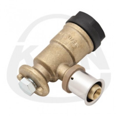 Отвод KAN фиксируемый Рress-удлиненный с пресс-кольцом, с короткой полимерной заглушкой 16x2/G1/2