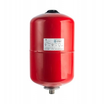 Бак расширительный STOUT на отопление 12л, красный.