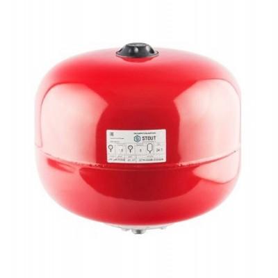 Бак расширительный STOUT на отопление 24л, красный