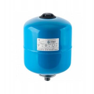 Бак расширительный (гидроаккумулятор) STOUT для водоснабжения 8л, вертикальный, синий